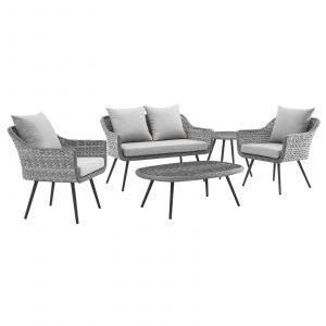 5 Piece Outdoor Patio Wicker Rattan Loveseat Armchair Coffee + Side Table Set-EEI-3178-GRY-GRY-SET_1