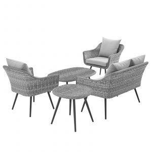 5 Piece Outdoor Patio Wicker Rattan Loveseat Armchair Coffee + Side Table Set-EEI-3178-GRY-GRY-SET_2_