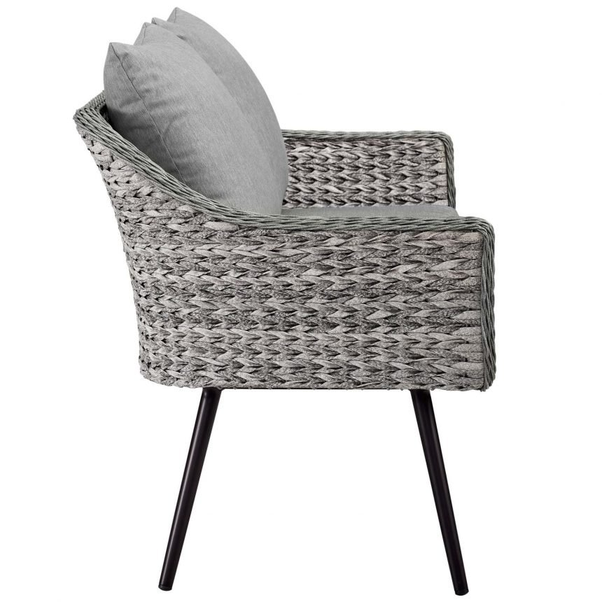 5 Piece Outdoor Patio Wicker Rattan Loveseat Armchair Coffee + Side Table Set-EEI-3178-GRY-GRY-SET_Chair side