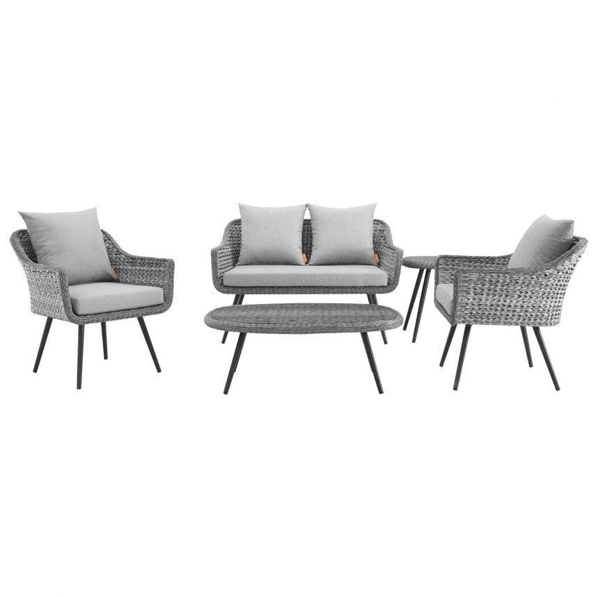 5 Piece Outdoor Patio Wicker Rattan Loveseat Armchair Coffee + Side Table Set-EEI-3178-GRY-GRY-SET_front