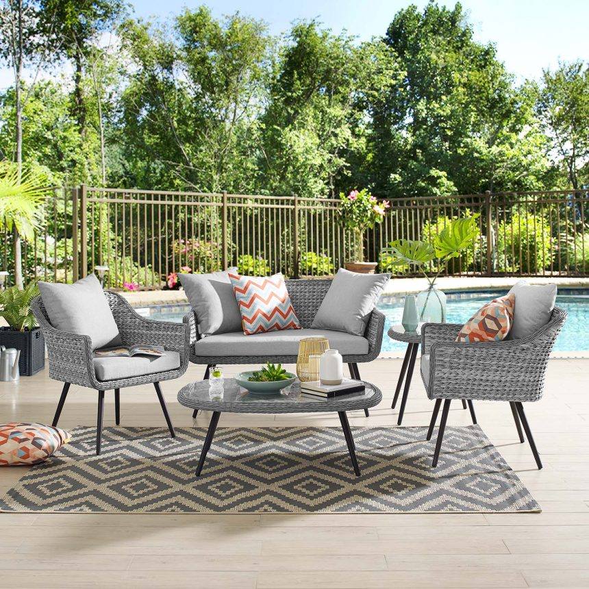 5 Piece Outdoor Patio Wicker Rattan Loveseat Armchair Coffee + Side Table Set-EEI-3178-GRY-GRY-SET_live