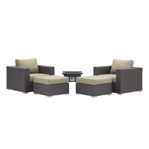 5 Piece Set Outdoor Patio with Fire Pit -EEI-3726-EXP-BEI-SET_Front 2