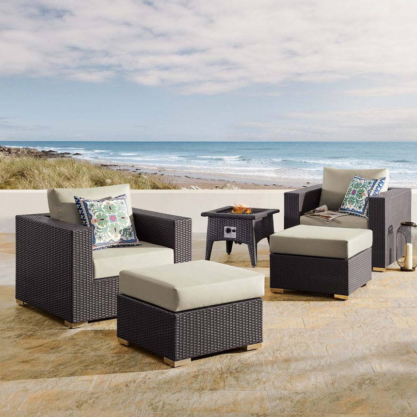 5 Piece Set Outdoor Patio with Fire Pit -EEI-3726-EXP-BEI-SET_Live