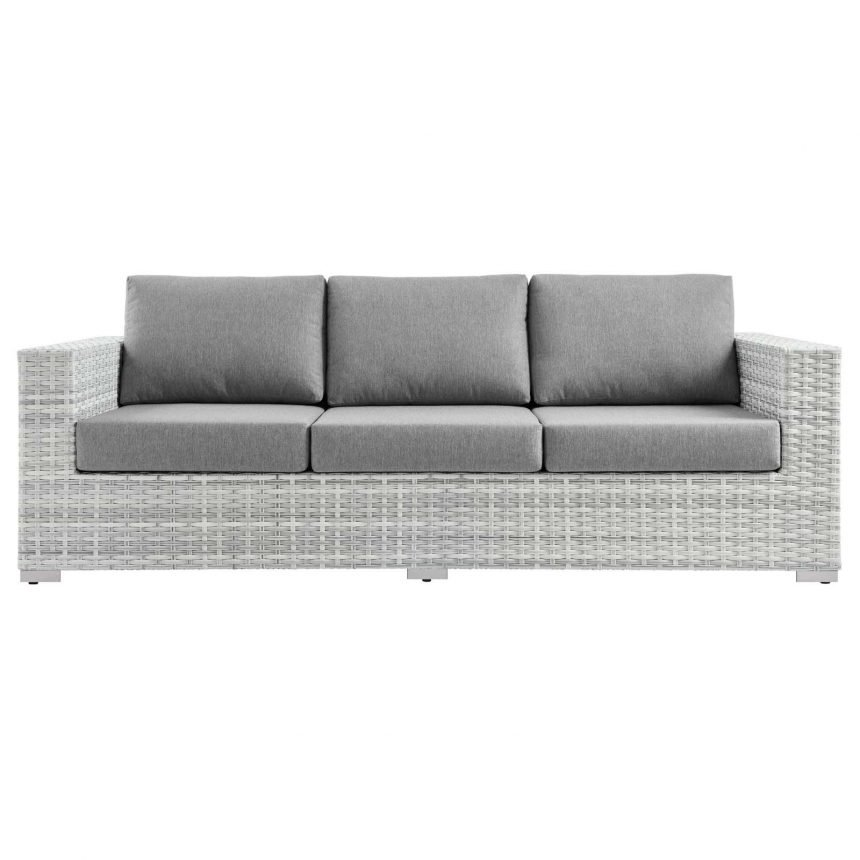 Outdoor Patio Sofa in Light Gray-EEI-4305-LGR-GRY