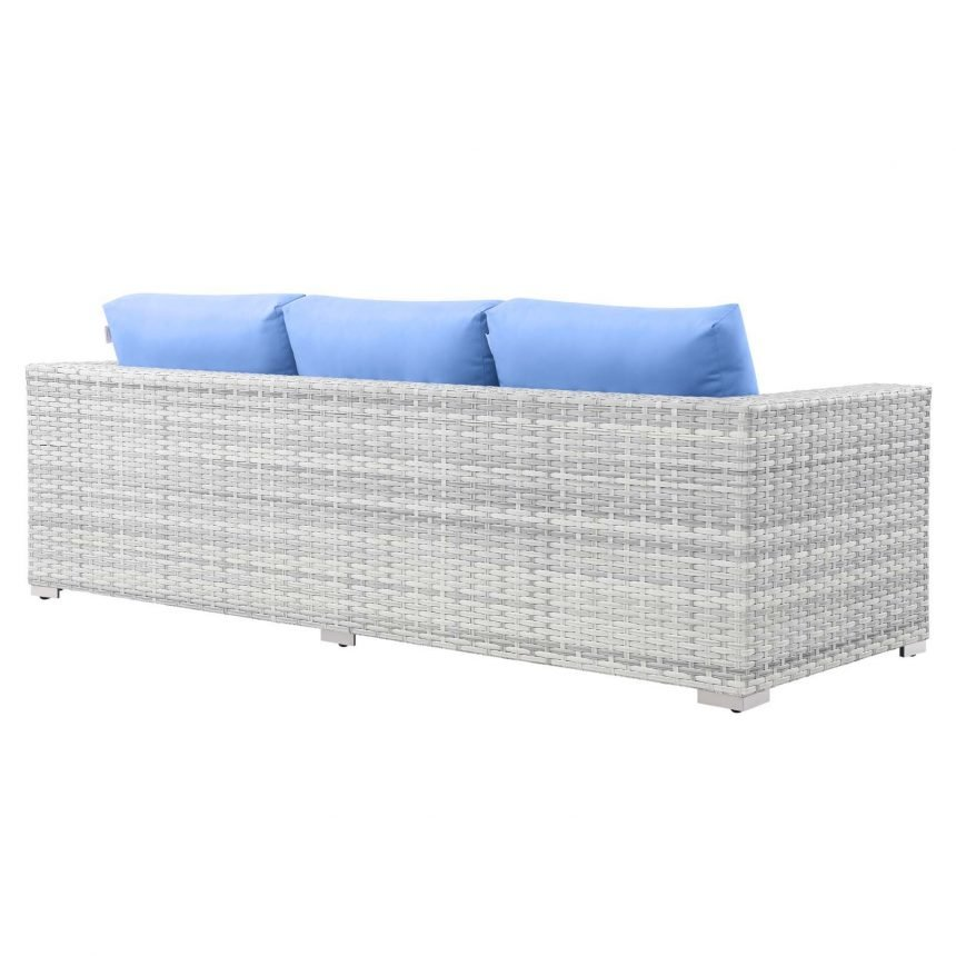 Outdoor Patio Sofa in Light Gray-EEI-4305-LGR-LBU back