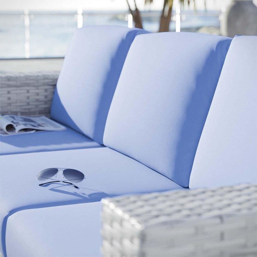 Outdoor Patio Sofa in Light Gray-EEI-4305-LGR-LBU cushions
