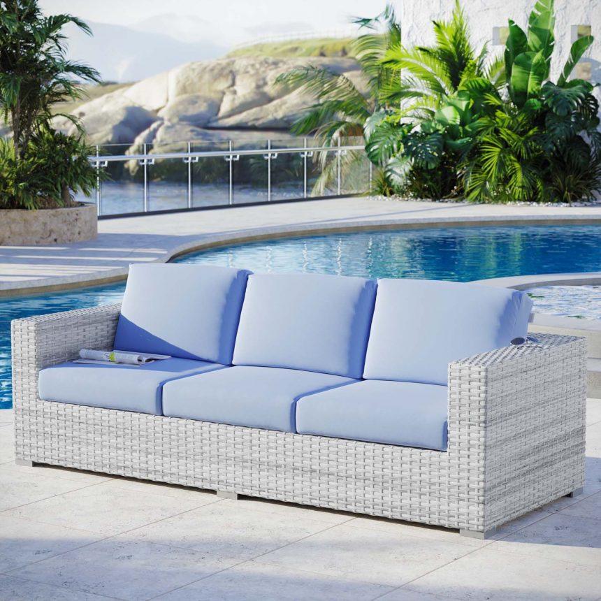 Outdoor Patio Sofa in Light Gray-EEI-4305-LGR-LBU live