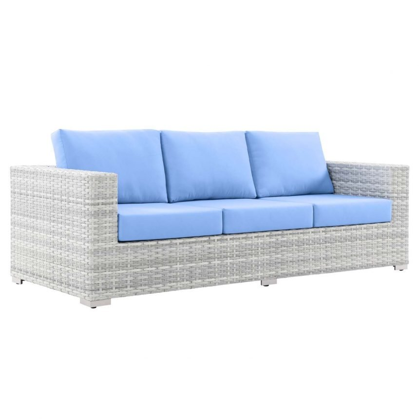 Outdoor Patio Sofa in Light Gray-EEI-4305-LGR-LBU side.front