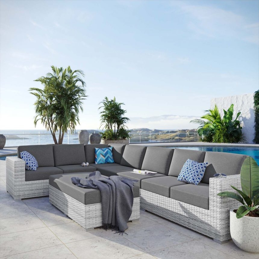 6-Piece Outdoor Patio Sectional Set-EEI-5450-LGR-CHA-LIVE