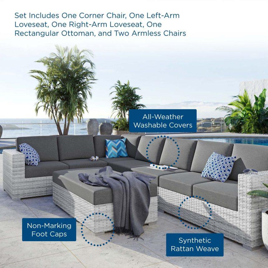 6-Piece Outdoor Patio Sectional Set-EEI-5450-LGR-CHA TEXT