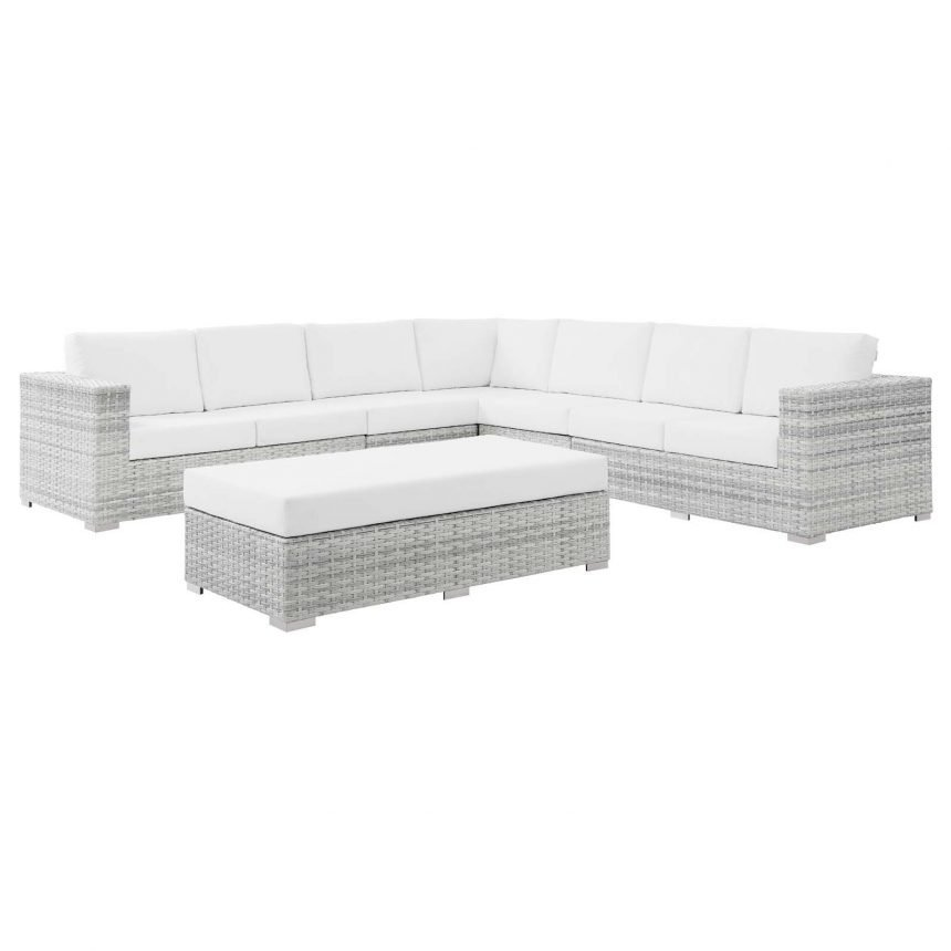 6-Piece Outdoor Patio Sectional Set-EEI-5450-LGR-WHI